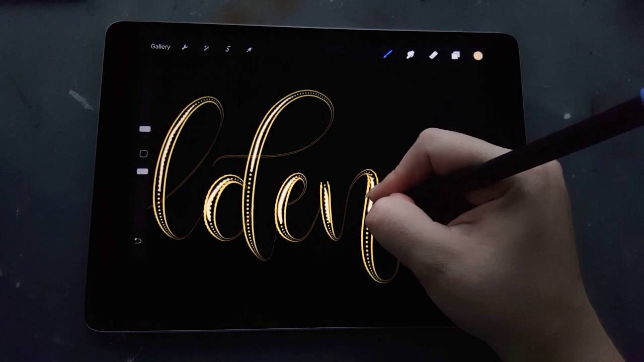 Gold Text effect in Procreate – Digital Handlettering on iPad